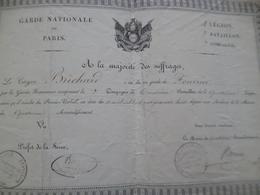 Diplôme Militaire Militaria Garde Nationale De Paris 7ème Cie Nomination Brichard - Documentos