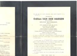 Faire-part De Décès M. Odilon Van Der HAEGEN ép. De H. Moyersoen, Avocat, Juge,.. AALST 1859 / 1941(b228) - Overlijden