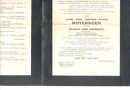 Faire-part De Décès Mde Louisa MOYERSOEN Vve De L. Geerinckx  - AALST 1878 / 1950 Château De Terlinden  (b228) - Obituary Notices