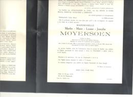 Faire-part De Décès Mlle Marthe MOYERSOEN AALST 1880 / 1955  (b228) - Décès