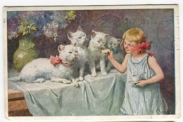 Feiertag Petite Donne à Manger Aux CHATS Feeding Cats Katzenessen 1926 - Feiertag, Karl