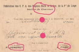 Agriculture Fédération Des UPA U.P.A.  Section De Charneux ( Herve ) 1919 Generet & Fabry Carte Correspondance - Herve