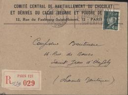Enveloppe Comité Central De Ravitaillement Du Chocolat Et Dérivés Cacao Beurre Poudre Paris Recommandé YT 521B Pétain - Marcophilie (Lettres)