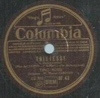 """78 Tours - TINO ROSSI  - COLUMBIA 43  """" TRISTESSE """" + """" PENSEE D'AUTOMNE """" - 78 Rpm - Gramophone Records"""