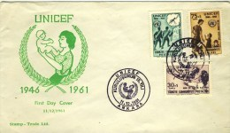 """1961 Turkey FDC With Complete Set Of 3 Stamps  """" UNICEF """" - 1921-... Republic"""