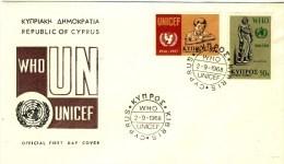 "1968 Cyprus UN FDC ""Unicef & W.H.O. - Cyprus (Republiek)"