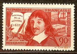 SUPERBE DESCARTES YT N°342 90c Rouge Brique NEUF Avec GOMME** Cote 12 Euro PAS D'AMINCI - Unused Stamps
