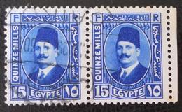 ROYAUME - ROI FOUAD 1ER 1927/32 - PAIRE OBLITEREE - YT 124 - Egypt