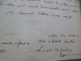 LAS Autographe Marqis De Foudras Bourgogne à Mme De Calonne  Contrôleur Des Finances Roanne 4/10/1783 2p In4 - Autógrafos