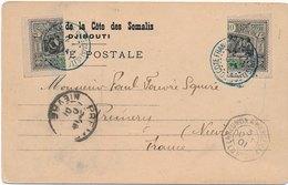 Cote Française Des Somalis Djibouti Timbres Coupés En Deux Cachet De Ligne Cover Bisect - Lettres & Documents
