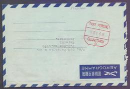 CHINA Postal History, Aerogramme Stationery Meter Franking Red, Used From GUANGZHOU - 1949 - ... Volksrepublik