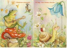 Lot De 2 Cp  10-15 Chantons Ensemble Grenouille Guitariste Asise Sur Un Champignon-Et Hop Une Bonne Douche Escargot - Contemporain (à Partir De 1950)