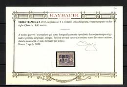 TRIESTE A AMG-FTT SEGNATASSE 5 L. SENZA FILIGRANA  SASSONE 4A - Trieste