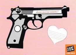 PUB Publicité - Donne Moi Ton Numéro !  (2)  (pistolet Révolver)  -CART'COM *PRIX FIXE - Publicité