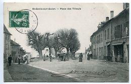 CPA 1908 - SAINT GENIX SUR GUIERS Place Des Tilleuls ( Animée Attelages Chevaux ) Excellent état - France