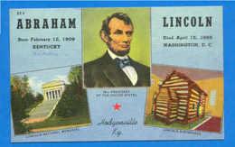 Vintage Postcard HODGENVILLE KENTUCKY & ABRAHAM LINCOLN USA - Etats-Unis