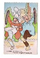 14 Vire Carte Fantaisie Illustration Si T' Etais V'nu T' Aurais Mangé D' L' Andouille CPSM PF Folklore Normand Normandie - Vire