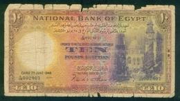 EGYPT / 10 POUNDS / DATE : 7-6-1948 / P- 41 ( 2 ) / PREFIX : X / 128 / BAD USED - Egypt