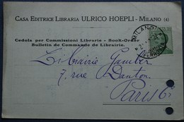 Carte Commerciale MILAN Pour PARIS. 1926 - 1900-44 Vittorio Emanuele III