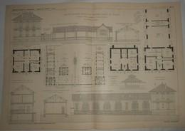 Plan D'un Groupe Scolaire. Ecoles De Garçons Et De Filles. A Saint Ouen L'Aumône En Seine Et Oise. 1905. - Obras Públicas