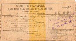 VP12.026 - MILITARIA - Guerre 14 / 18 - Ordre De Transport - BESANCON X PARIS - Soldat P. RORET - Documents