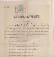 CROATIA, ZAGREB  --  ZENSKA UCITELJSKA SKOLA  ( PREPARANDIJA ) ~~.  SVJEDODZBA OSPOSOBNICA,   - 1894 /  TAX STAMP - Diplome Und Schulzeugnisse