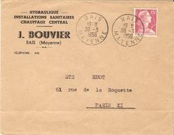 France 1956 - Enveloppe Publicitaire - J. Bouvier - Hydraulique - De Bais/Mayenne à Paris - Marianne De Muller 1011 - France