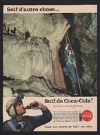 Pub Papier 1958 Boisson Coca Cola Pause Grotte Spéléologue Spéléologie - Publicités