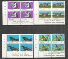 Oiseaux Des Iles Tokelau (Ocean Pacifique)  4 Bloc De 4  Timbres Neufs **., Bord De Feuille - Tokelau