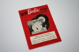 """Barbie Accesoires '50-'60 -  Leaflet """"Barbie Sings"""" - 1962 - 1 Page - Original Vintage Barbie - Ken - Ricky - - Barbie"""