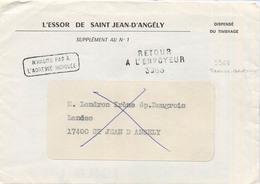 RETOUR A L'ENVOYEUR 3968 TONNAY BOUTONNE CHARENTE MARITIME 1973 - Postmark Collection (Covers)