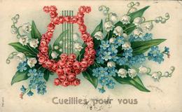 Muguet Et Myosotis PORTE BONHEUR   + Lyre Superbe Carte Gaufrée (en Relief) - Fêtes - Voeux