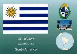 1 AK Uruguay * Die Flagge, Das Wappen, Die Position Von Uruguay In Südamerika Und Eine Ansicht Der Hauptstadt Montevideo - Uruguay