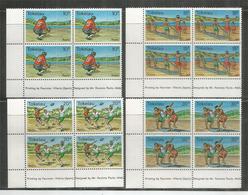 Les Sports Pratiqués Aux Iles Tokelau. Rugby,Cricket. 4 Blocs De 4  Timbres Neufs ** , Bord De Feuille - Tokelau