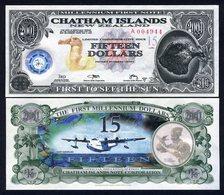 Chatham Islands, $15, 2001, Polymer,, UNC - Billets