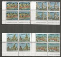 Courses De Canoës Entre Chaque Ile Des Tokelau,4 Blocs De 4 Timbres Neufs **,  Bord De Feuille - Tokelau