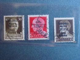"""Italie 3 TP (N° 226-228 & 230) Surcharges """"Republica Sociale Italiana /Base Atlantica """" & """"Republica Fascista.."""" - Afgestempeld"""