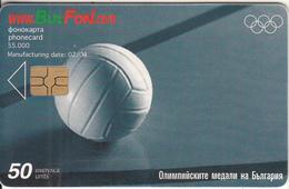 BULGARIA - Athens 2004 Olympics/Volleyball, Bulfon Telecard 50 Units, Chip GEM6a, Tirage 55000, 02/04, Used - Bulgaria