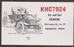 CB QSL Card - Old Car - Art & Dot Hawkins Indianapolis, Indiana - CB