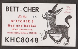 CB QSL Card - Donkey - Bob & Bobbie Bettcher Indianapolis, Indiana - CB