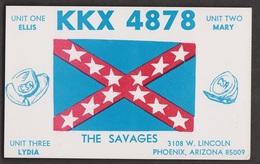 CB QSL Card - Flag - Ellis & Mary Savage Phoenix, Arizona - CB