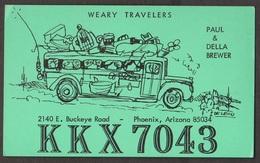 CB QSL Card - Weary Travellers - Paul & Della Brewer Phoenix, Arizona - CB
