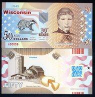 USA States, Wisconsin, $50, Polymer, Not Dated (2017), Laura Wilder - Billets