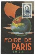 CARTE  / FOIRE DE PARIS / CACHET  1948 / N° 799 PJ PROUDHON - Commemorative Postmarks