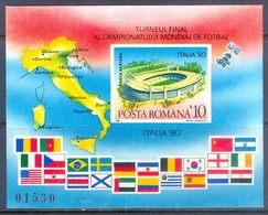 F42- Romania 1990 Football Soccer World Cup, Space. Map. Flag. - Soccer