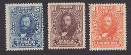 Honduras, Scott #113, 115, 118, Mint Hinged, Guardiola, Issued 1903 - Honduras