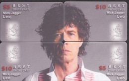 ROCK MUSIC MICK JAGGER ROLLING STONES PUZZLE OF 4 PHONE CARDS - Musik