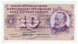 Suisse // Schweiz // Switzerland // 10 Francs 1973 No.020141 Série 81T  (billet Neuf) - Switzerland