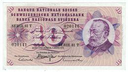 Suisse // Schweiz // Switzerland // 10 Francs 1973 No.020141 Série 81T  (billet Neuf) - Suiza