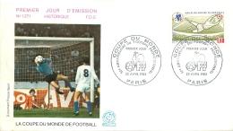 PREMIER JOUR D'EMISSION F.D.C. N°1271  28/04/1982 LA COUPE DU MONDE DE FOOTBALL PARIS - FDC